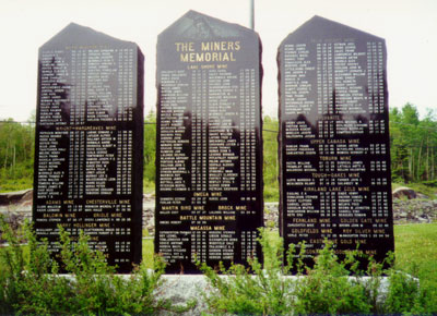 Memorial to miners who died underground in the Kirkland Lake gold mines